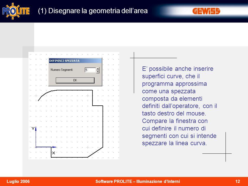 12Software PROLITE – Illuminazione dInterniLuglio 2006 (1) Disegnare la geometria dellarea E possibile anche inserire superfici curve, che il programma approssima come una spezzata composta da elementi definiti dalloperatore, con il tasto destro del mouse.
