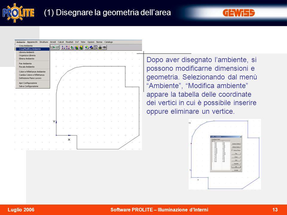 13Software PROLITE – Illuminazione dInterniLuglio 2006 (1) Disegnare la geometria dellarea Dopo aver disegnato lambiente, si possono modificarne dimensioni e geometria.