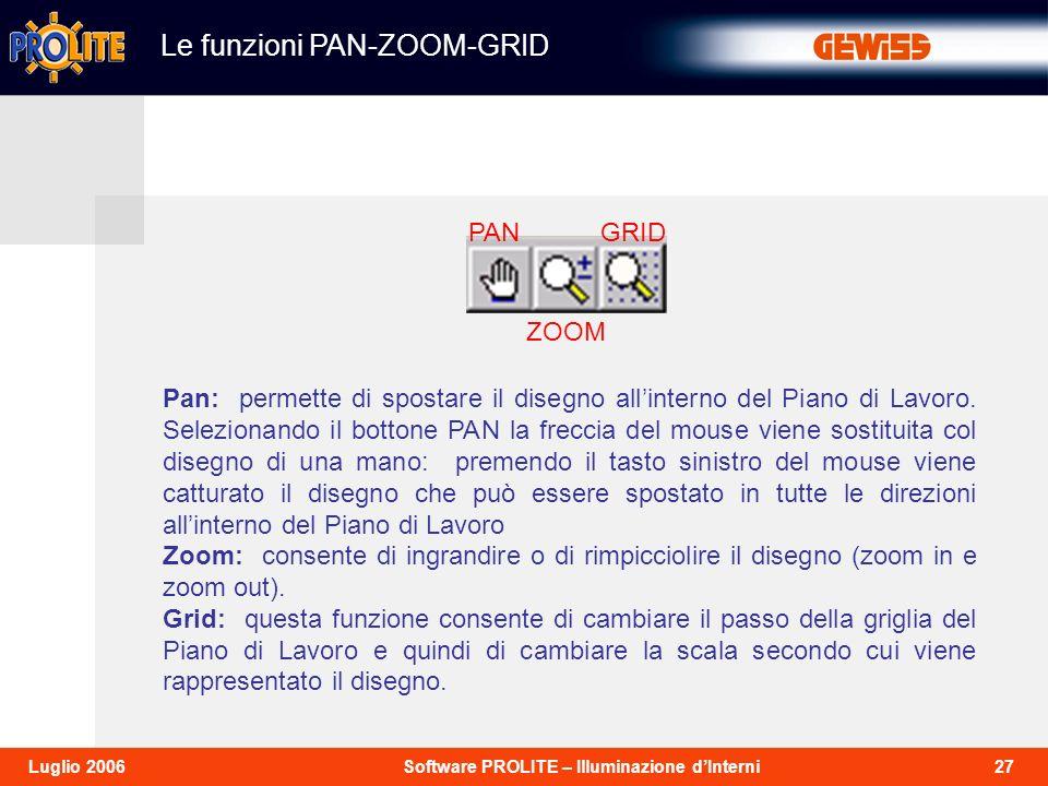 27Software PROLITE – Illuminazione dInterniLuglio 2006 Le funzioni PAN-ZOOM-GRID Pan: permette di spostare il disegno allinterno del Piano di Lavoro.