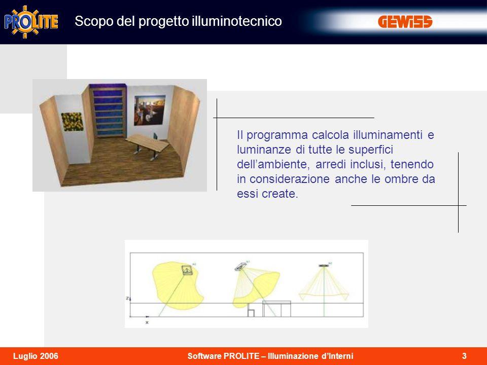 3Software PROLITE – Illuminazione dInterniLuglio 2006 Scopo del progetto illuminotecnico Il programma calcola illuminamenti e luminanze di tutte le superfici dellambiente, arredi inclusi, tenendo in considerazione anche le ombre da essi create.