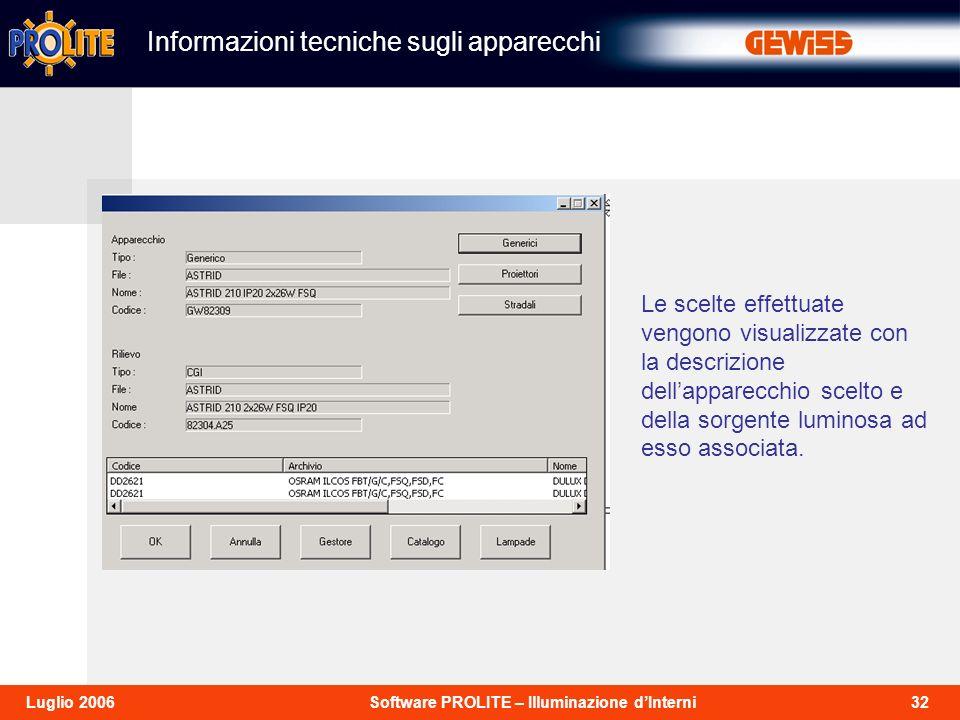 32Software PROLITE – Illuminazione dInterniLuglio 2006 Informazioni tecniche sugli apparecchi Le scelte effettuate vengono visualizzate con la descrizione dellapparecchio scelto e della sorgente luminosa ad esso associata.
