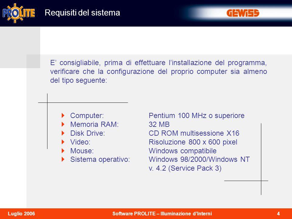 4Software PROLITE – Illuminazione dInterniLuglio 2006 Requisiti del sistema Computer:Pentium 100 MHz o superiore Memoria RAM:32 MB Disk Drive:CD ROM multisessione X16 Video:Risoluzione 800 x 600 pixel Mouse:Windows compatibile Sistema operativo: Windows 98/2000/Windows NT v.