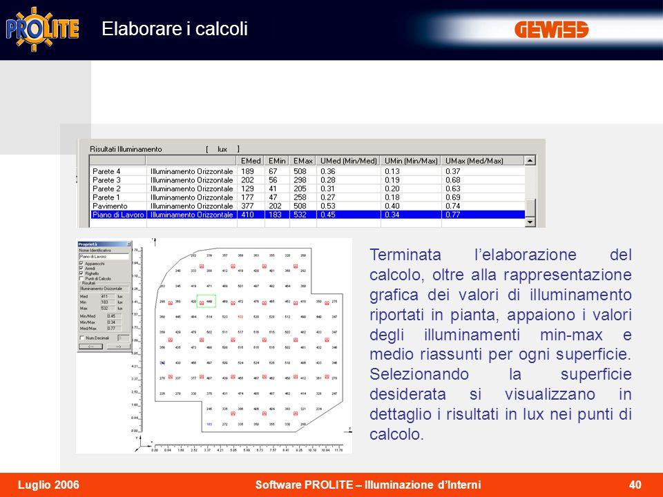 40Software PROLITE – Illuminazione dInterniLuglio 2006 Terminata lelaborazione del calcolo, oltre alla rappresentazione grafica dei valori di illuminamento riportati in pianta, appaiono i valori degli illuminamenti min-max e medio riassunti per ogni superficie.