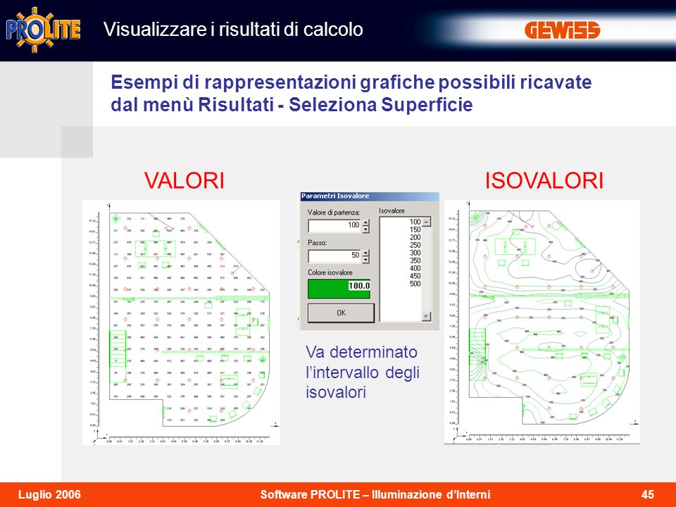 45Software PROLITE – Illuminazione dInterniLuglio 2006 Esempi di rappresentazioni grafiche possibili ricavate dal menù Risultati - Seleziona Superficie VALORIISOVALORI Va determinato lintervallo degli isovalori Visualizzare i risultati di calcolo