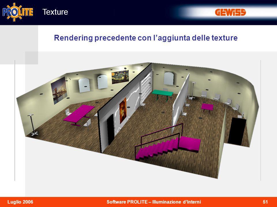 51Software PROLITE – Illuminazione dInterniLuglio 2006 Texture Rendering precedente con laggiunta delle texture