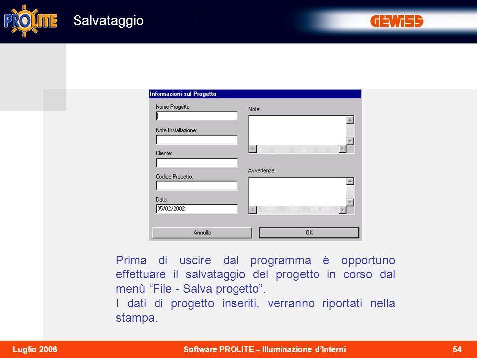 54Software PROLITE – Illuminazione dInterniLuglio 2006 Prima di uscire dal programma è opportuno effettuare il salvataggio del progetto in corso dal menù File - Salva progetto.