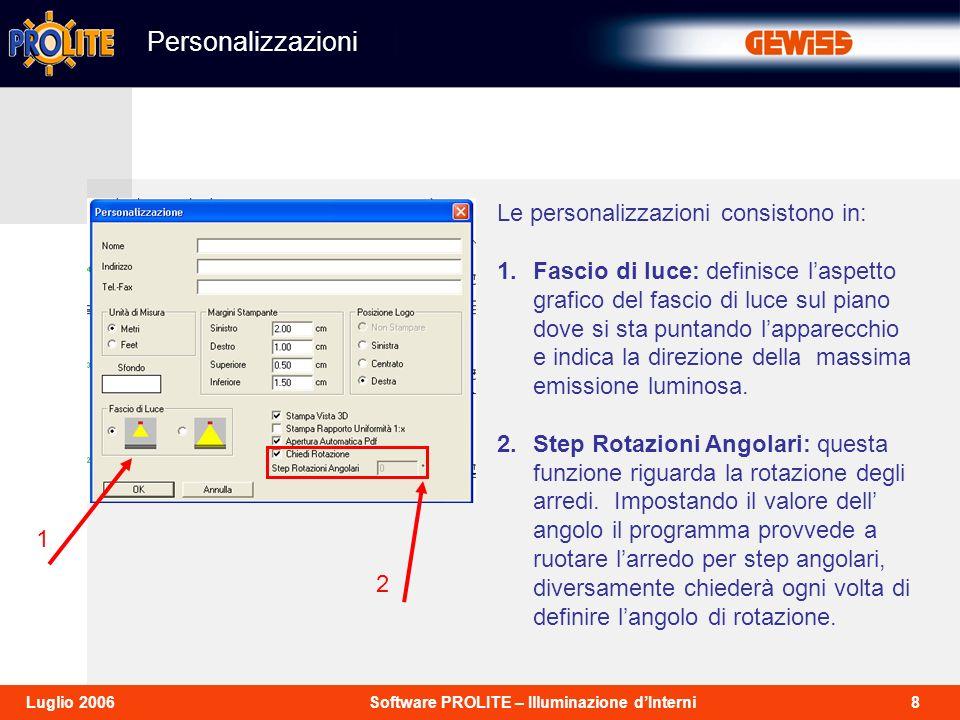 8Software PROLITE – Illuminazione dInterniLuglio 2006 Personalizzazioni 1 2 Le personalizzazioni consistono in: 1.Fascio di luce: definisce laspetto grafico del fascio di luce sul piano dove si sta puntando lapparecchio e indica la direzione della massima emissione luminosa.