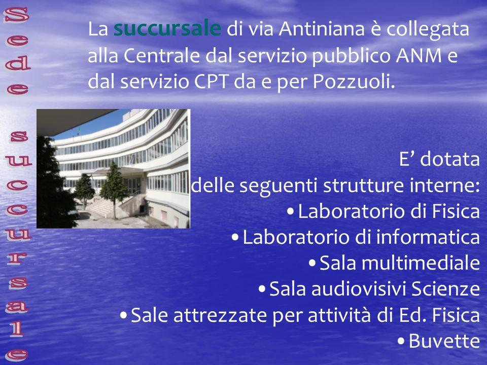 La succursale di via Antiniana è collegata alla Centrale dal servizio pubblico ANM e dal servizio CPT da e per Pozzuoli. E dotata delle seguenti strut