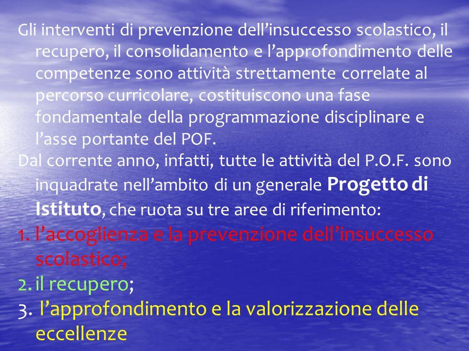Gli interventi di prevenzione dellinsuccesso scolastico, il recupero, il consolidamento e lapprofondimento delle competenze sono attività strettamente