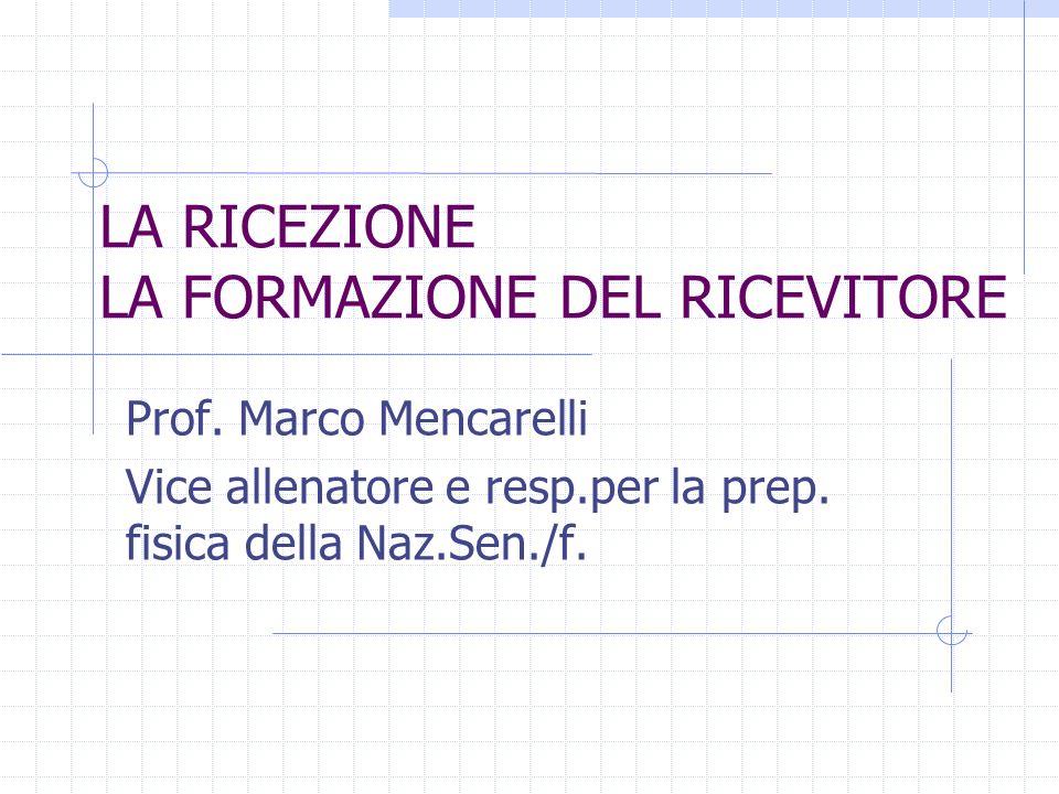 LA RICEZIONE LA FORMAZIONE DEL RICEVITORE Prof. Marco Mencarelli Vice allenatore e resp.per la prep. fisica della Naz.Sen./f.
