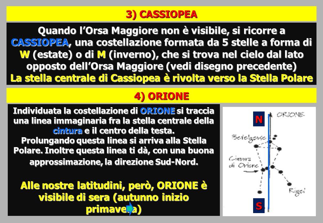 Quando lOrsa Maggiore non è visibile, si ricorre a CASSIOPEA, una costellazione formata da 5 stelle a forma di W (estate) o di M (inverno), che si trova nel cielo dal lato opposto dellOrsa Maggiore (vedi disegno precedente) La stella centrale di Cassiopea è rivolta verso la Stella Polare 3) CASSIOPEA 4) ORIONE Individuata la costellazione di ORIONE si traccia una linea immaginaria fra la stella centrale della cintura e il centro della testa.