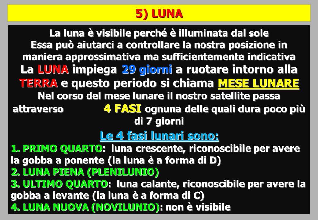 La luna è visibile perché è illuminata dal sole Essa può aiutarci a controllare la nostra posizione in maniera approssimativa ma sufficientemente indicativa La LUNA impiega 29 giorni a ruotare intorno alla TERRA e questo periodo si chiama MESE LUNARE Nel corso del mese lunare il nostro satellite passa attraverso 4 FASI ognuna delle quali dura poco più di 7 giorni Le 4 fasi lunari sono: 1.