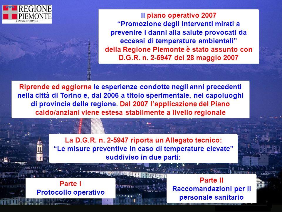 Direzione Sanità Il piano operativo 2007 Promozione degli interventi mirati a prevenire i danni alla salute provocati da eccessi di temperature ambientali della Regione Piemonte è stato assunto con D.G.R.
