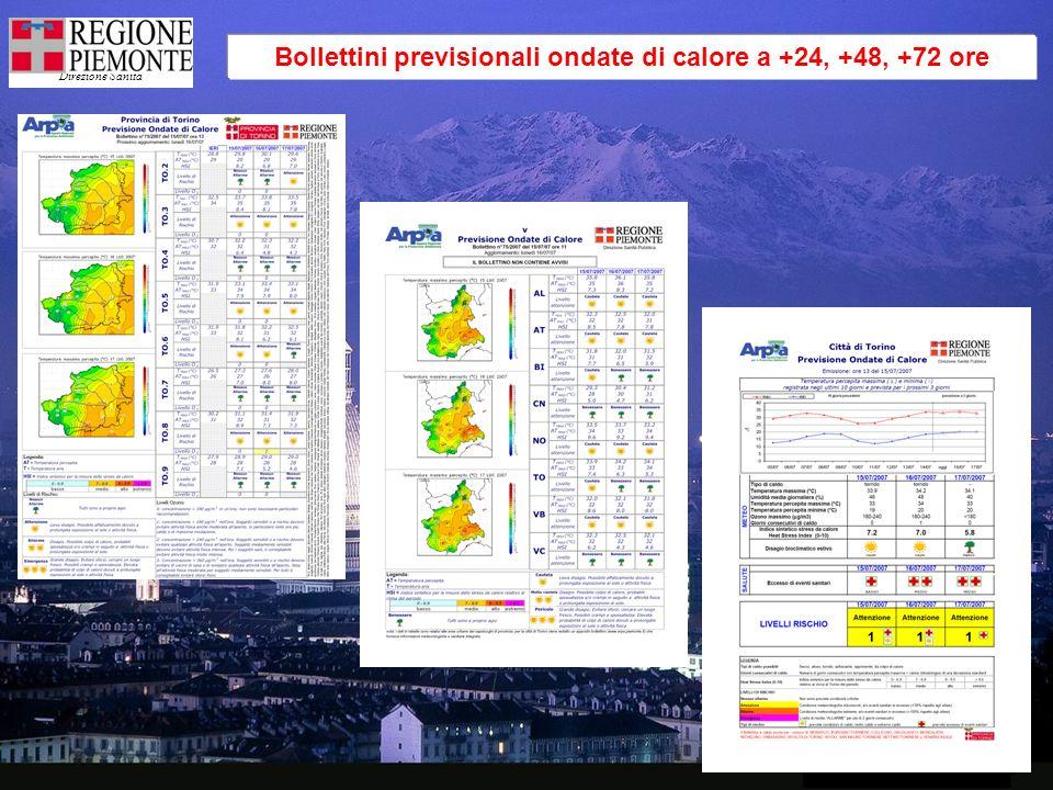 Direzione Sanità Bollettini previsionali ondate di calore a +24, +48, +72 ore
