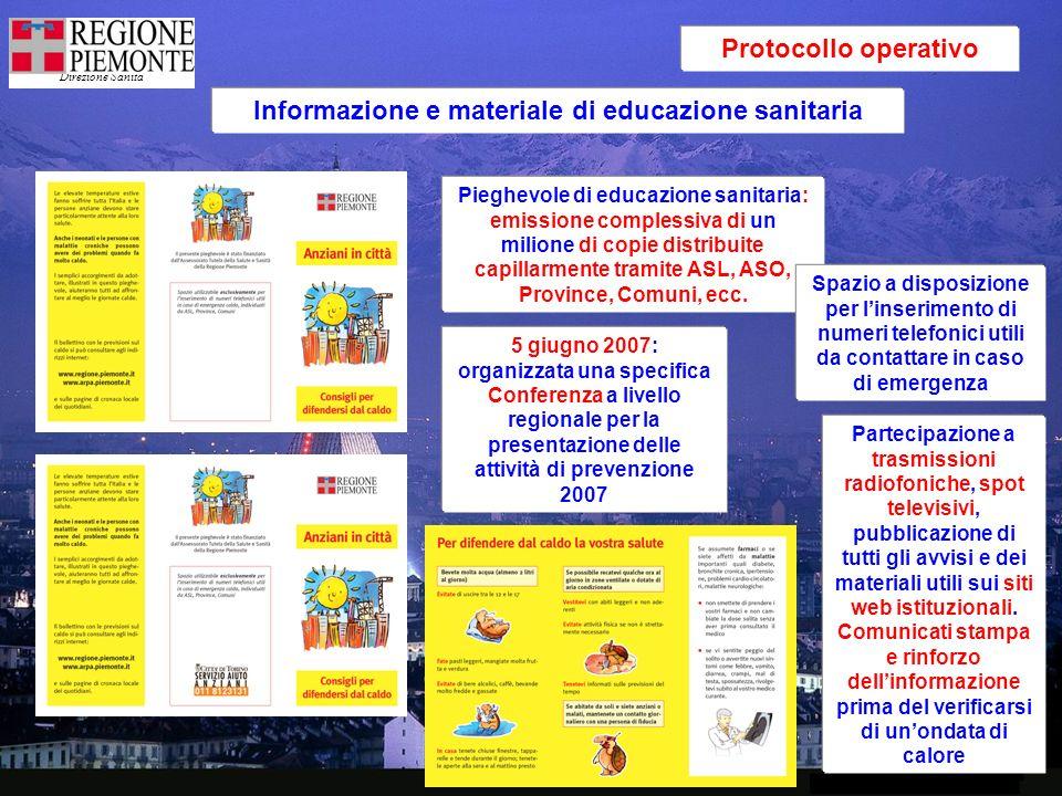 Direzione Sanità Protocollo operativo Informazione e materiale di educazione sanitaria Pieghevole di educazione sanitaria: emissione complessiva di un milione di copie distribuite capillarmente tramite ASL, ASO, Province, Comuni, ecc.