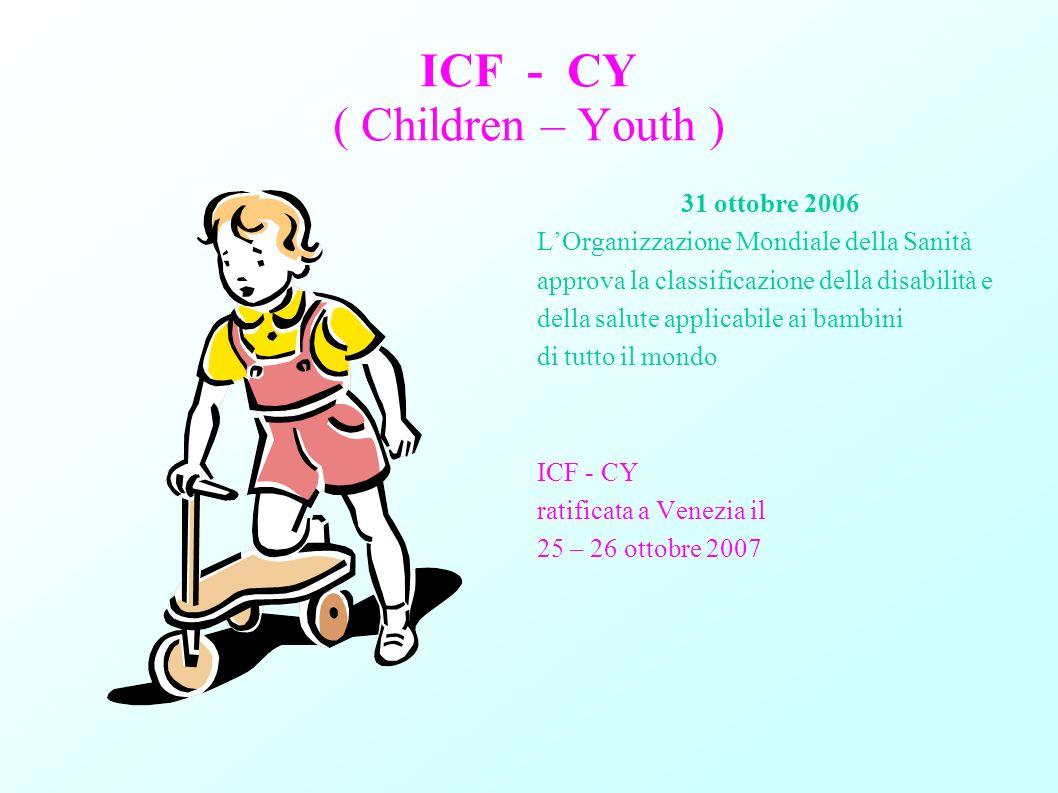 ICF - CY ( Children – Youth ) 31 ottobre 2006 LOrganizzazione Mondiale della Sanità approva la classificazione della disabilità e della salute applica