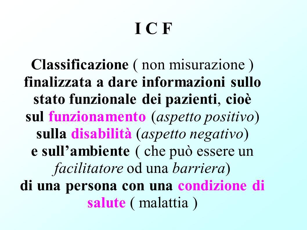 I C F Classificazione ( non misurazione ) finalizzata a dare informazioni sullo stato funzionale dei pazienti, cioè sul funzionamento (aspetto positiv