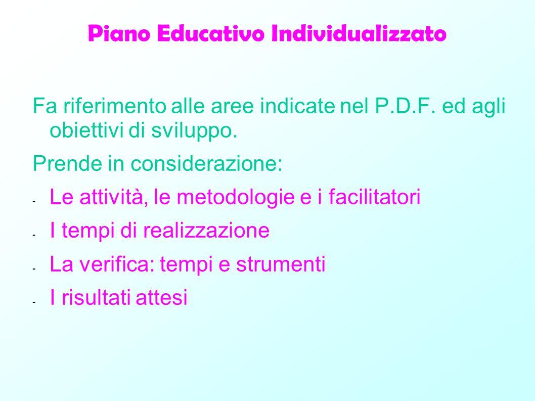 Piano Educativo Individualizzato Fa riferimento alle aree indicate nel P.D.F. ed agli obiettivi di sviluppo. Prende in considerazione: - Le attività,