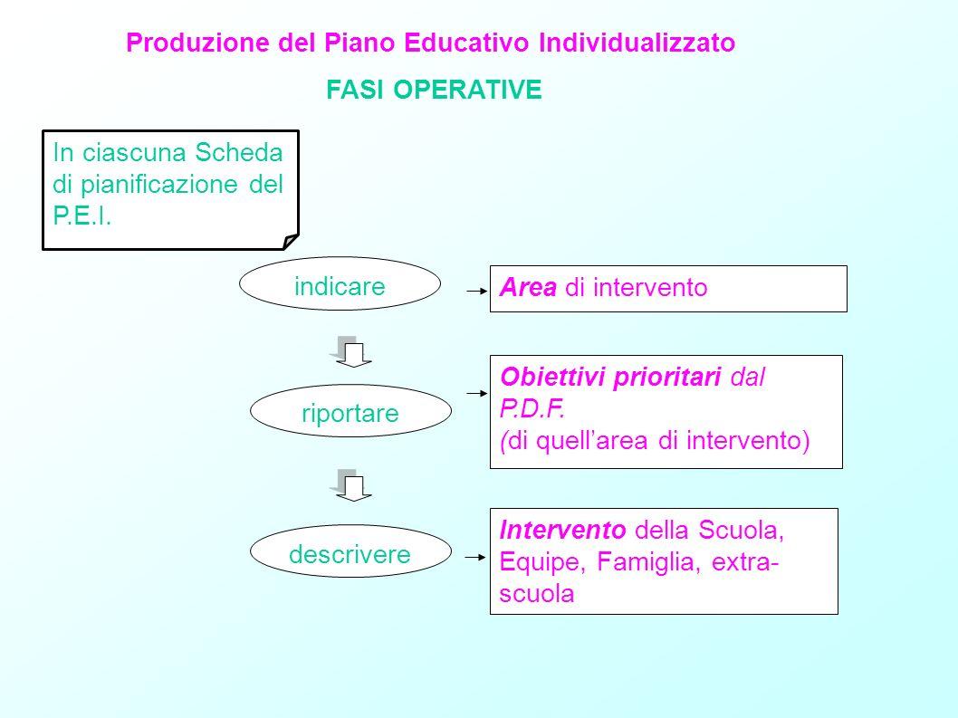 Produzione del Piano Educativo Individualizzato FASI OPERATIVE In ciascuna Scheda di pianificazione del P.E.I. indicare Area di intervento riportare O