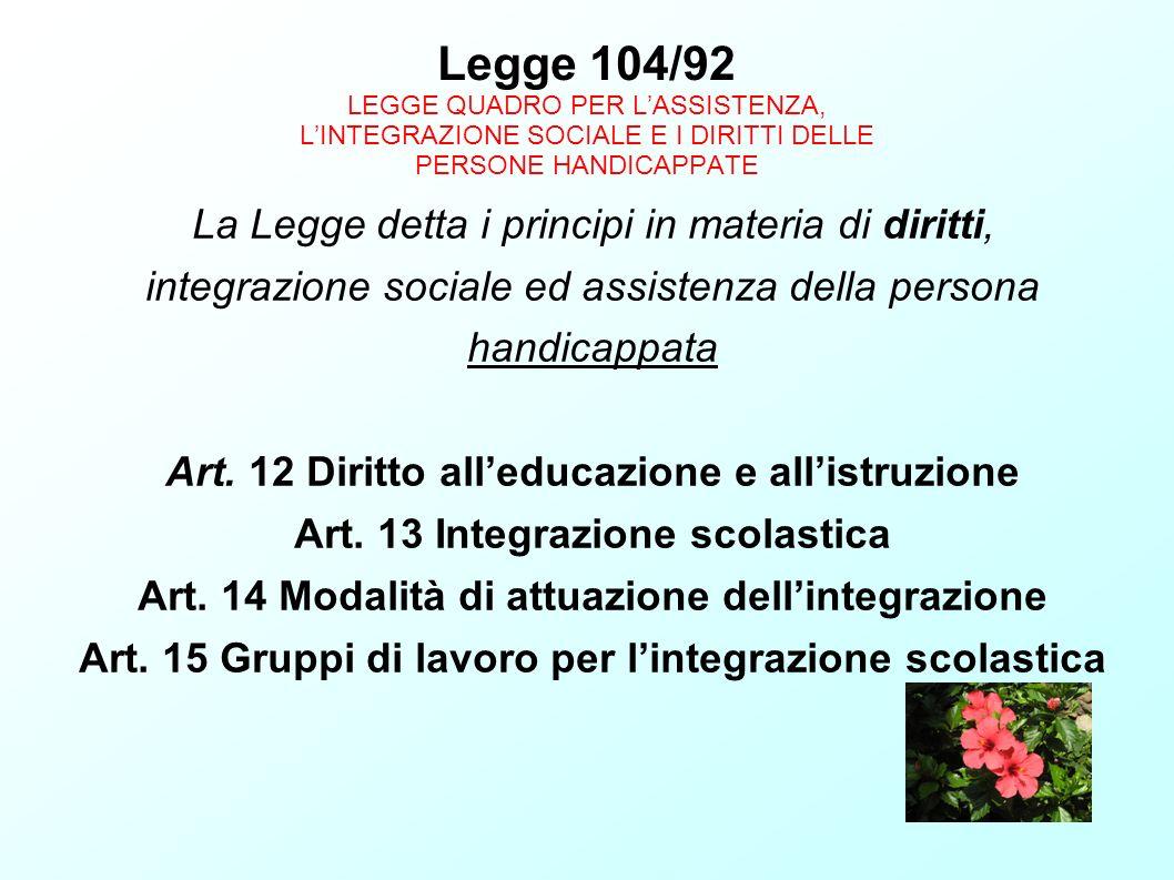 Legge 104/92 LEGGE QUADRO PER LASSISTENZA, LINTEGRAZIONE SOCIALE E I DIRITTI DELLE PERSONE HANDICAPPATE La Legge detta i principi in materia di diritt