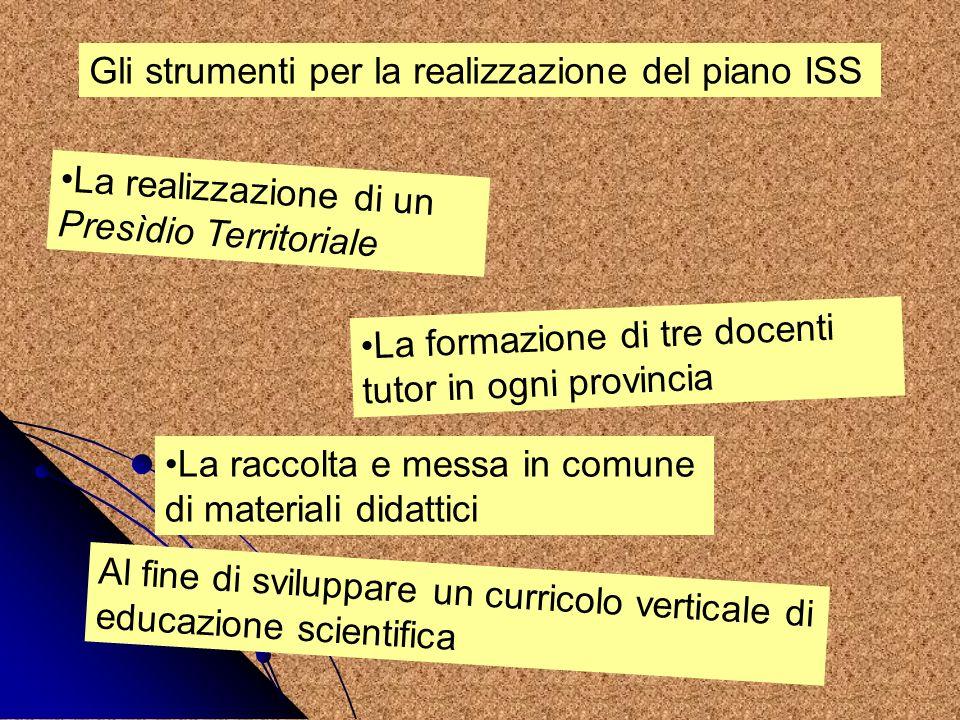 Il Piano ISS a Verona Presidio Territoriale istituito presso lI.C.XIV di San Massimo: luogo fisico dove incontrarsi confrontarsi sulle azioni didattiche trovare lattrezzatura per poter realizzare le attività di laboratorio provare insieme le esperienze con il supporto dei docenti tutor