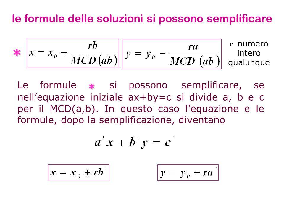 * Le formule * si possono semplificare, se nellequazione iniziale ax+by=c si divide a, b e c per il MCD(a,b). In questo caso lequazione e le formule,