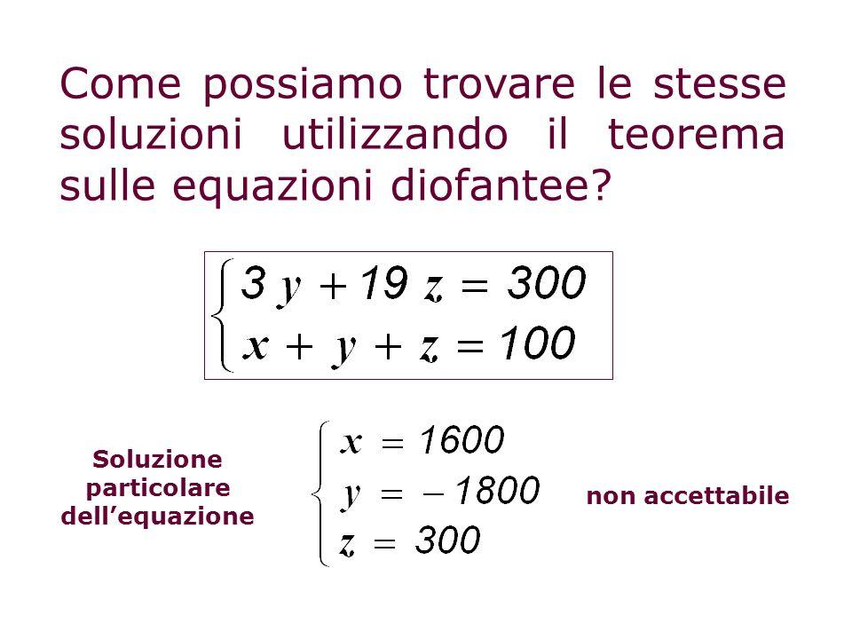 Come possiamo trovare le stesse soluzioni utilizzando il teorema sulle equazioni diofantee? non accettabile Soluzione particolare dellequazione