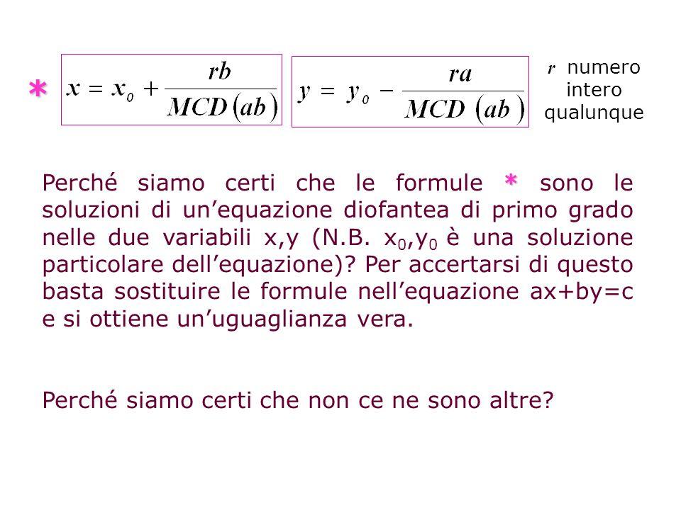 k è una costante e può anche non essere un numero intero, ma deve essere k = r/MCD(a,b ), dato che ka e kb devono essere numeri interi e anche (x, y) soluzione generica e ( x 0 y 0 ) soluzione particolare, quindi è vero che segue