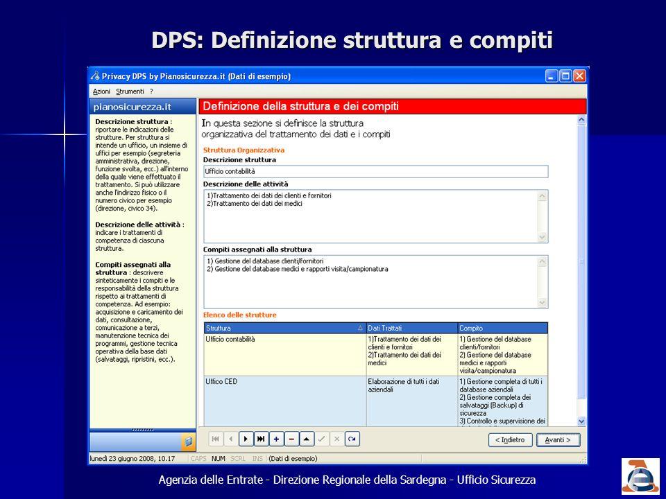 DPS: Definizione struttura e compiti Agenzia delle Entrate - Direzione Regionale della Sardegna - Ufficio Sicurezza