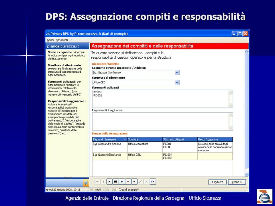 DPS: Assegnazione compiti e responsabilità Agenzia delle Entrate - Direzione Regionale della Sardegna - Ufficio Sicurezza