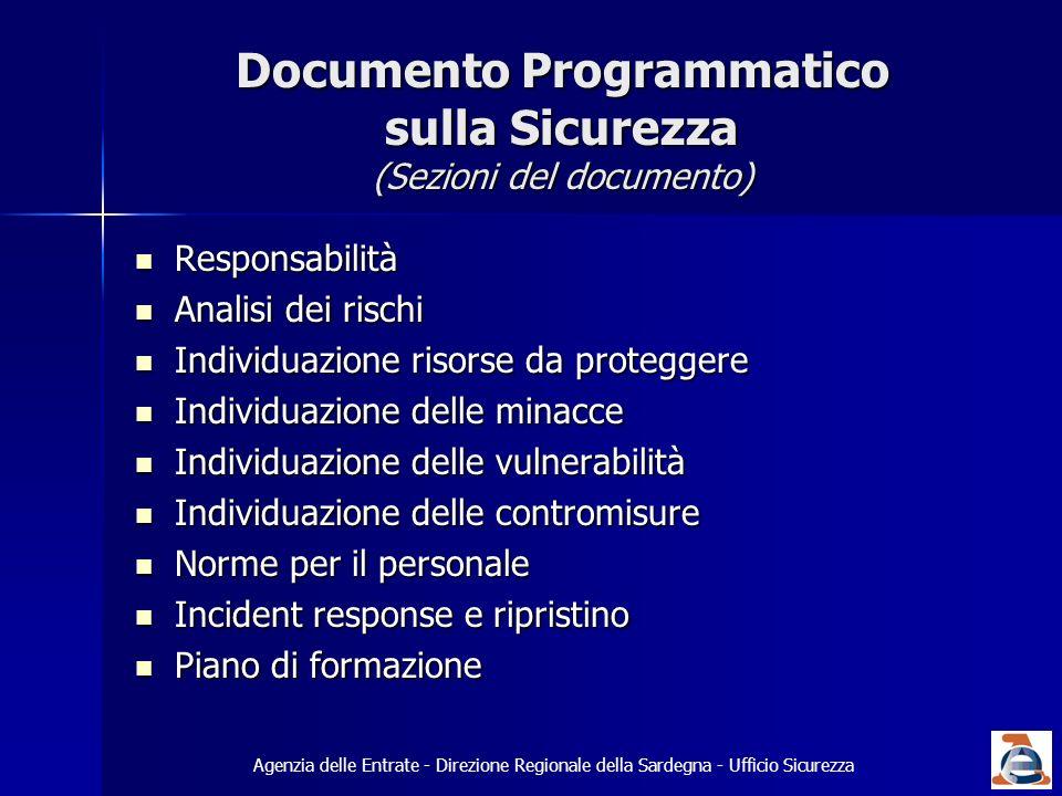 Documento Programmatico sulla Sicurezza (Sezioni del documento) Responsabilità Responsabilità Analisi dei rischi Analisi dei rischi Individuazione ris