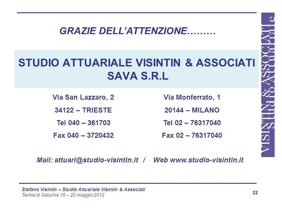 22 Stefano Visintin – Studio Attuariale Visintin & Associati Terme di Saturnia 18 – 20 maggio 2012 STUDIO ATTUARIALE VISINTIN & ASSOCIATI SAVA S.R.L V