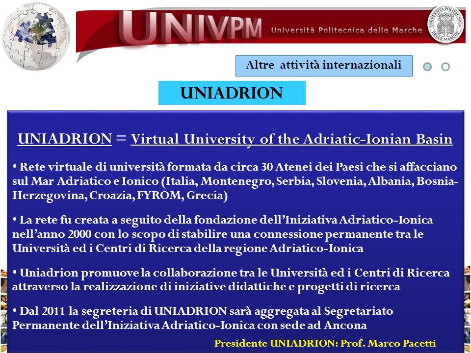 Altre attività internazionali UNIADRION UNIADRION Virtual University of the Adriatic-Ionian Basin UNIADRION = Virtual University of the Adriatic-Ionia