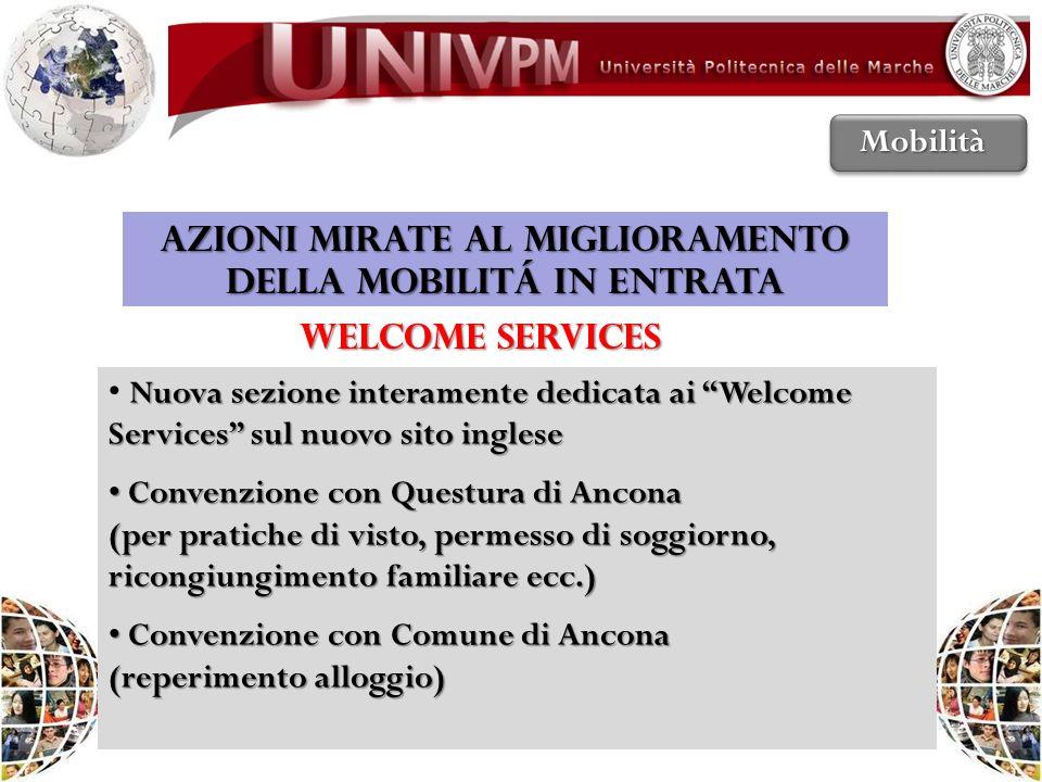 AZIONI MIRATE AL MIGLIORAMENTO DELLA MOBILITÁ IN ENTRATA WELCOME SERVICES Nuova sezione interamente dedicata ai Welcome Services sul nuovo sito ingles