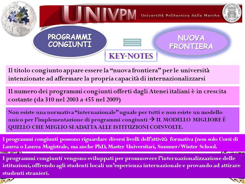 PROGRAMMI CONGIUNTI NUOVA FRONTIERA Il numero dei programmi congiunti offerti dagli Atenei italiani è in crescita costante (da 310 nel 2003 a 455 nel