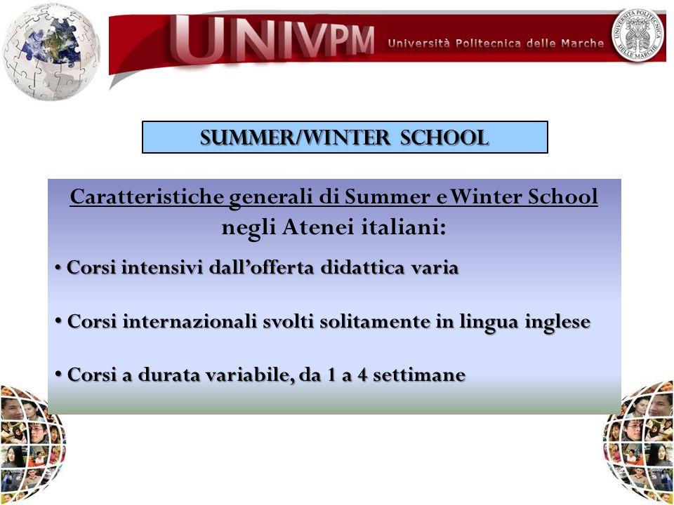 SUMMER/WINTER SCHOOL Caratteristiche generali di Summer e Winter School negli Atenei italiani: Corsi intensivi dallofferta didattica varia Corsi inten