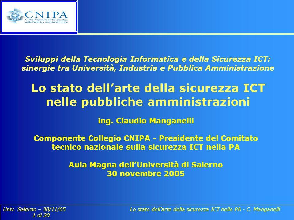 Univ. Salerno – 30/11/05 Lo stato dellarte della sicurezza ICT nelle PA - C. Manganelli 1 di 20 ing. Claudio Manganelli Componente Collegio CNIPA - Pr