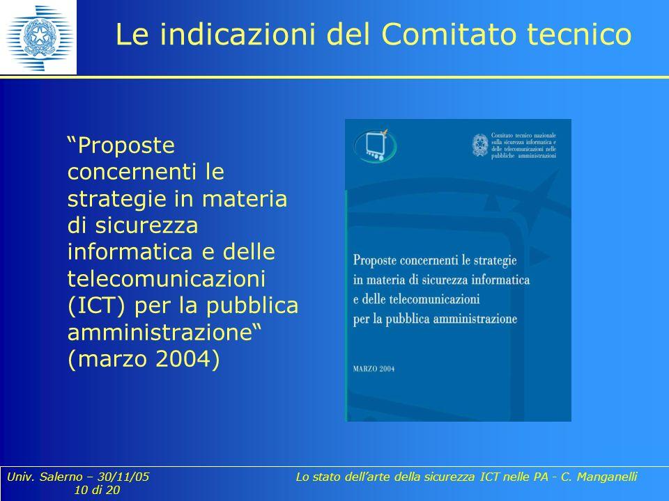 Univ. Salerno – 30/11/05 Lo stato dellarte della sicurezza ICT nelle PA - C. Manganelli 10 di 20 Le indicazioni del Comitato tecnico Proposte concerne