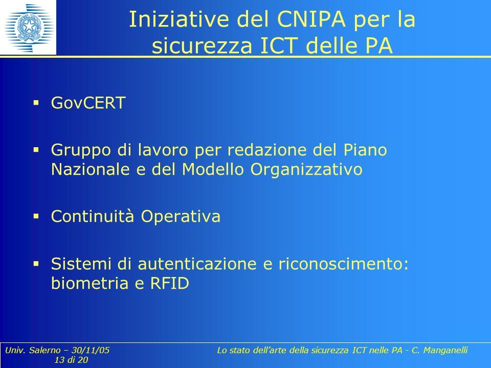 Univ. Salerno – 30/11/05 Lo stato dellarte della sicurezza ICT nelle PA - C. Manganelli 13 di 20 Iniziative del CNIPA per la sicurezza ICT delle PA Go