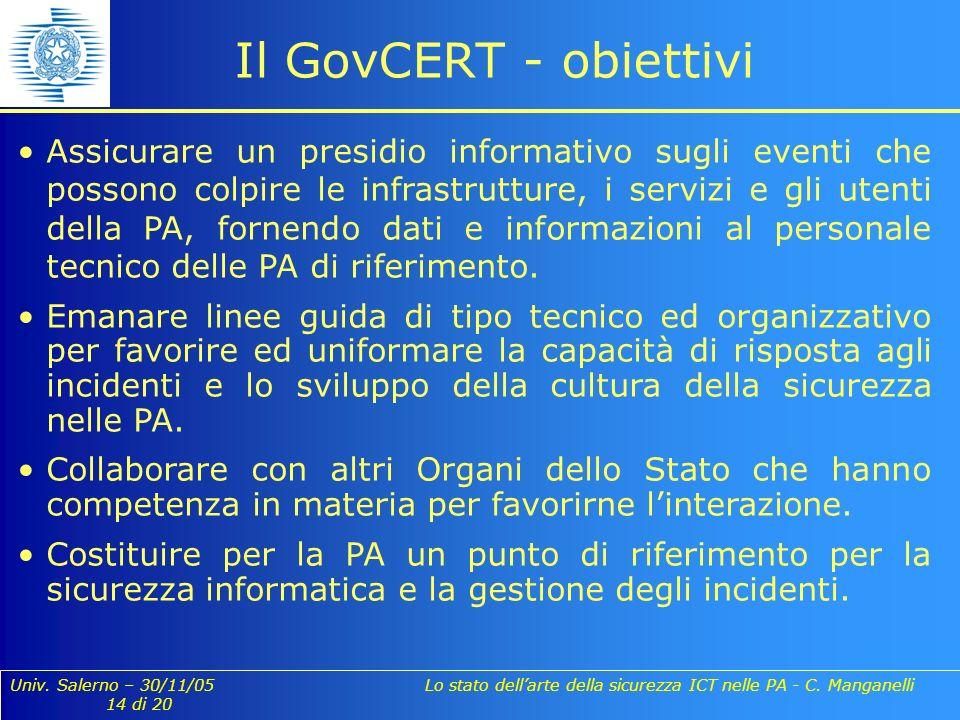 Univ. Salerno – 30/11/05 Lo stato dellarte della sicurezza ICT nelle PA - C. Manganelli 14 di 20 Il GovCERT - obiettivi Assicurare un presidio informa