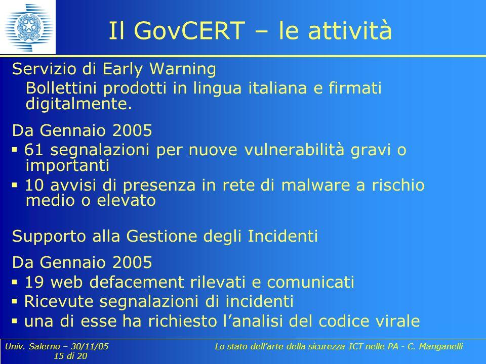 Univ. Salerno – 30/11/05 Lo stato dellarte della sicurezza ICT nelle PA - C. Manganelli 15 di 20 Servizio di Early Warning Bollettini prodotti in ling