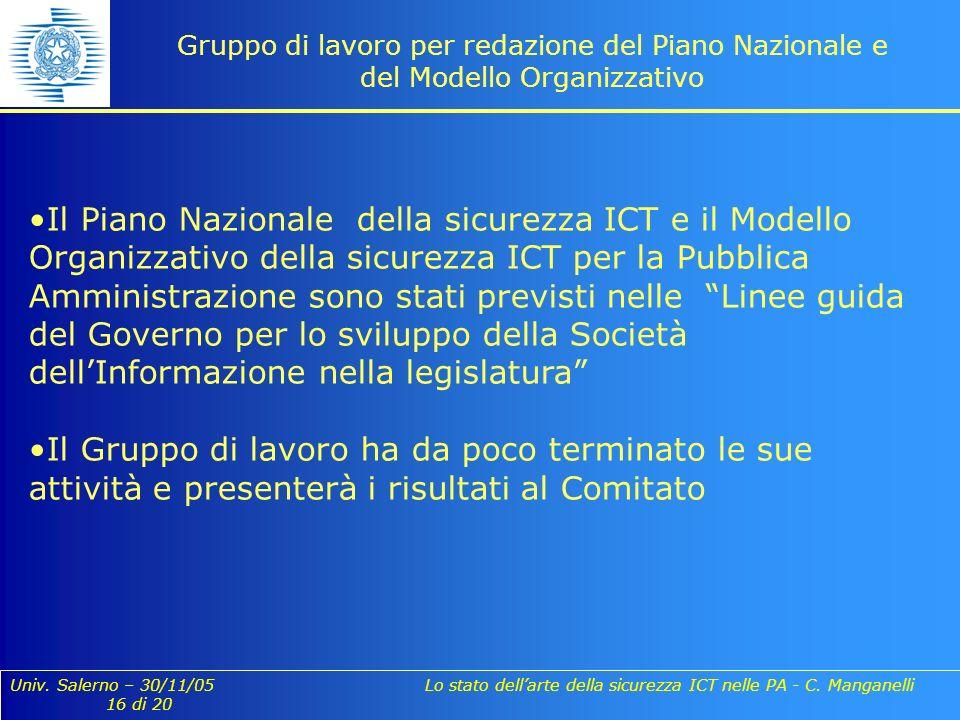Univ. Salerno – 30/11/05 Lo stato dellarte della sicurezza ICT nelle PA - C. Manganelli 16 di 20 Gruppo di lavoro per redazione del Piano Nazionale e