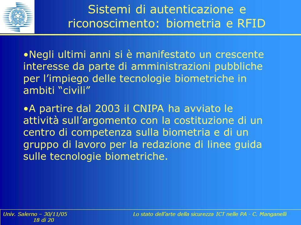 Univ. Salerno – 30/11/05 Lo stato dellarte della sicurezza ICT nelle PA - C. Manganelli 18 di 20 Sistemi di autenticazione e riconoscimento: biometria