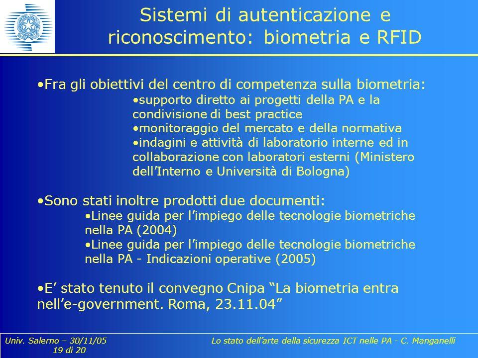 Univ. Salerno – 30/11/05 Lo stato dellarte della sicurezza ICT nelle PA - C. Manganelli 19 di 20 Sistemi di autenticazione e riconoscimento: biometria