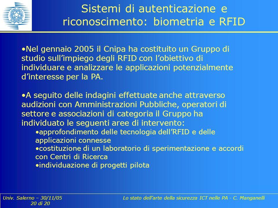 Univ. Salerno – 30/11/05 Lo stato dellarte della sicurezza ICT nelle PA - C. Manganelli 20 di 20 Sistemi di autenticazione e riconoscimento: biometria