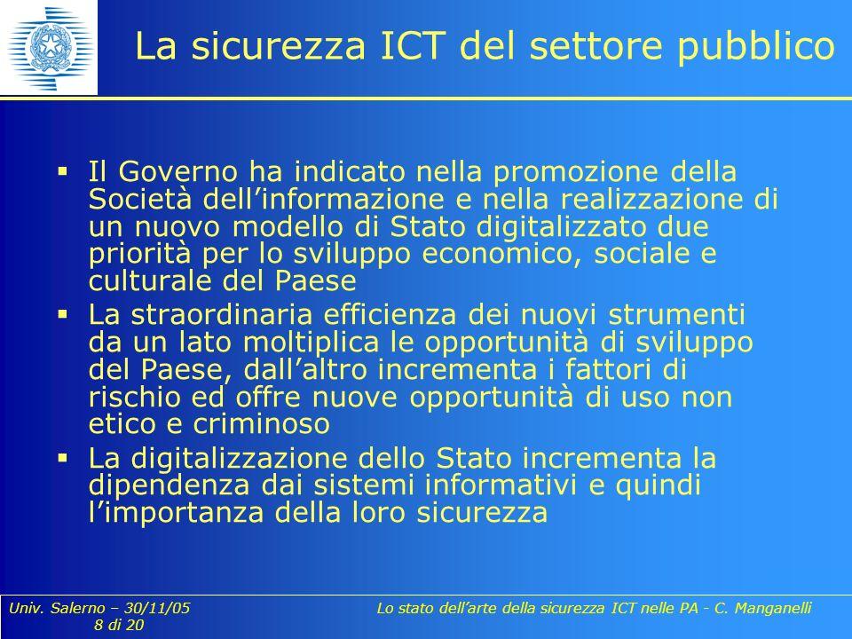 Univ. Salerno – 30/11/05 Lo stato dellarte della sicurezza ICT nelle PA - C. Manganelli 8 di 20 La sicurezza ICT del settore pubblico Il Governo ha in