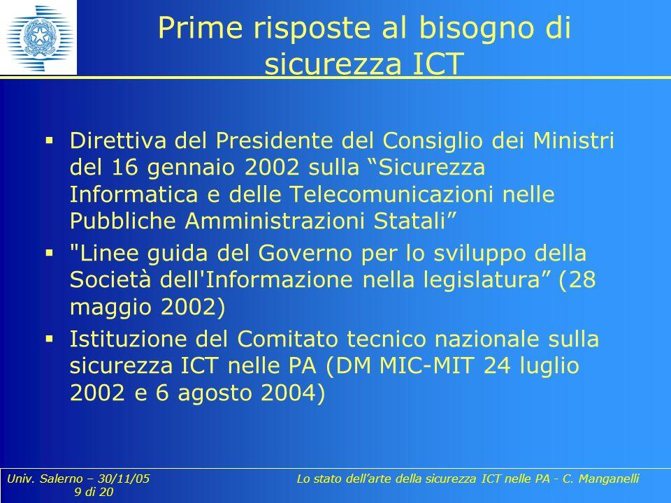 Univ. Salerno – 30/11/05 Lo stato dellarte della sicurezza ICT nelle PA - C. Manganelli 9 di 20 Prime risposte al bisogno di sicurezza ICT Direttiva d
