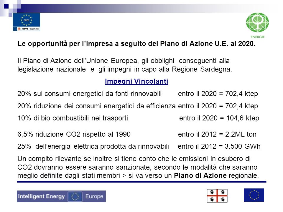 Le opportunità per limpresa a seguito del Piano di Azione U.E. al 2020. Il Piano di Azione dellUnione Europea, gli obblighi conseguenti alla legislazi