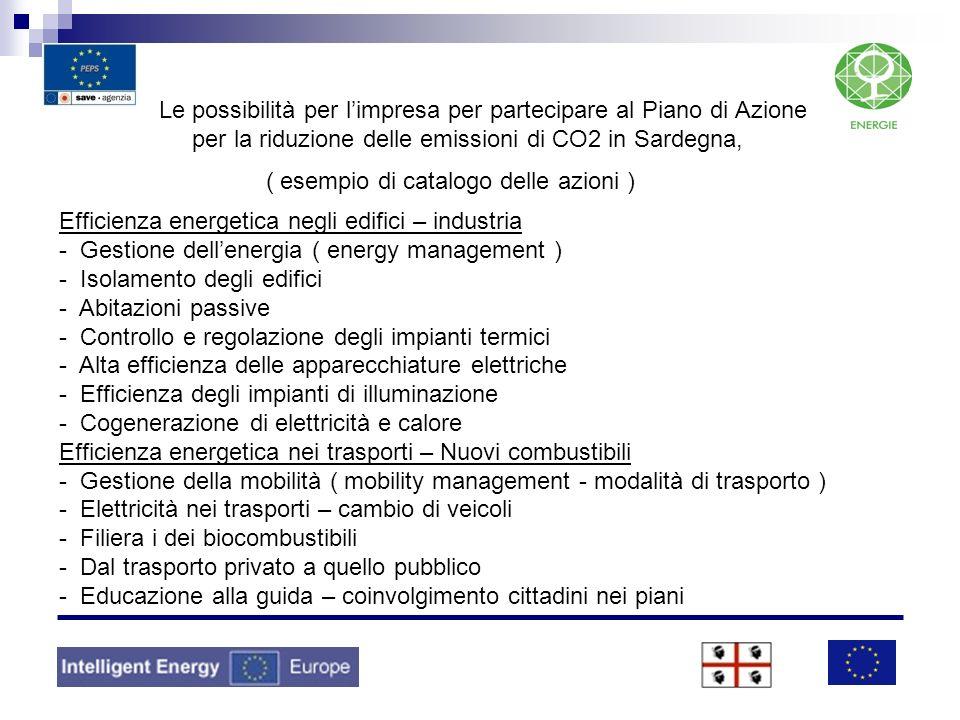 Le possibilità per limpresa per partecipare al Piano di Azione per la riduzione delle emissioni di CO2 in Sardegna, ( esempio di catalogo delle azioni
