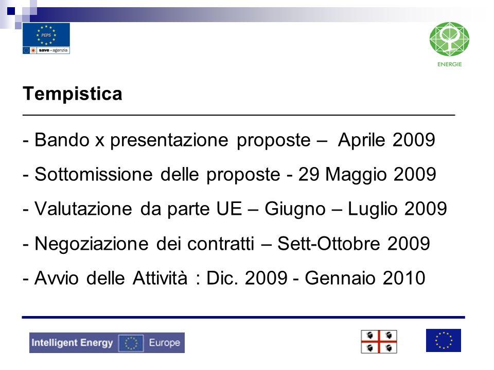 Tempistica _________________________________________________________________________________ - Bando x presentazione proposte – Aprile 2009 - Sottomis